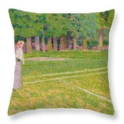 Tennis At Hertingfordbury Throw Pillow by Spencer Frederick Gore