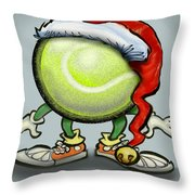 Tennis Christmas Throw Pillow
