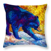 Tentative Step - Black Bear Throw Pillow