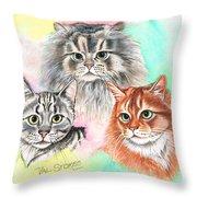 Tentative Trio Throw Pillow