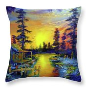 Tequila Sunrise In The Swamp Throw Pillow