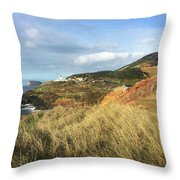Terceira Island, Ilheus De Cabras And Lighthouse Of Ponta Das Contendas Throw Pillow by Kelly Hazel