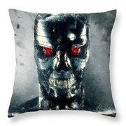 Terminator Oil Pastel Sketch Throw Pillow
