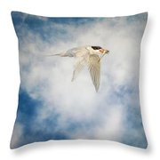 Tern In Flight With Fish Throw Pillow