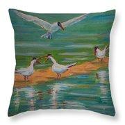 Terns On Sandbar Throw Pillow