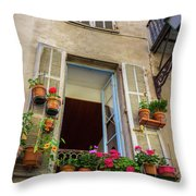 Terra Cotta Pots Outside Window In Old Town Nice, France Throw Pillow