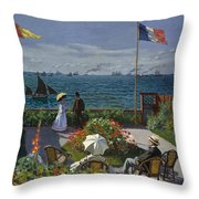 Terrace At Sainte-adresse Throw Pillow
