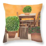 Terrace In Tuscany Throw Pillow