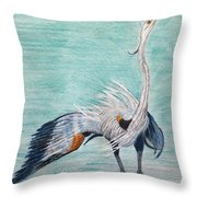 Terri's Heron Throw Pillow