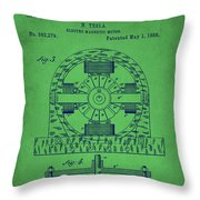 Tesla Electro Magnetic Motor Patent Drawing 2e Throw Pillow
