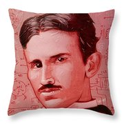 Tesla Throw Pillow by Kyle Willis