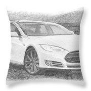 Tesla P58d Electric Car Pencil Drawing Throw Pillow