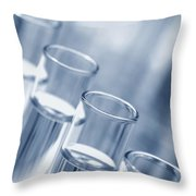 Test Tubes In Science Research Lab Throw Pillow