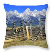 Teton Corral 2 Throw Pillow