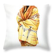 Teton Dacota Indian Woman II Throw Pillow