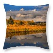 Teton Fall Foliage And Fog Throw Pillow