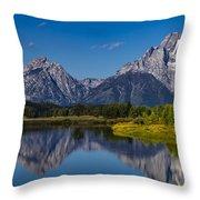 Teton Mountains Reflection Throw Pillow