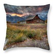 Teton Nightfire At The Ta Moulton Barn Throw Pillow