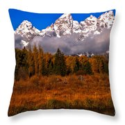 Teton Peaks Above Fall Foliage Throw Pillow