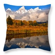 Teton Snow Cap Reflections Throw Pillow