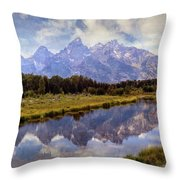 Tetons At The Landing 1 Throw Pillow