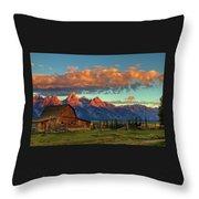 Tetons Barn Throw Pillow