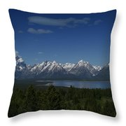 Tetons In Blue Throw Pillow