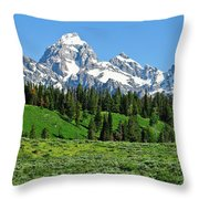 Tetons In Spring Throw Pillow