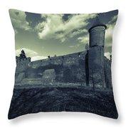 Teutonic Castle In Szymbark In Monochrome Throw Pillow