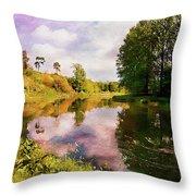 Teviot River Near Kelso. Throw Pillow