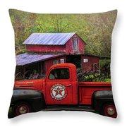Texaco Truck On A Smoky Mountain Farm In Colorful Textures  Throw Pillow