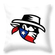 Texas Bandit Cowboy Side Retro Throw Pillow