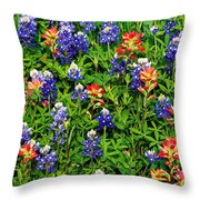 Texas Bluebonnets And Indian Paintbrush Throw Pillow