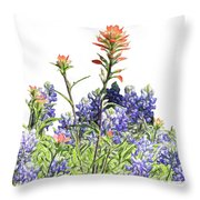 Texas Bluebonnets And Red Indian Paintbrushes Throw Pillow