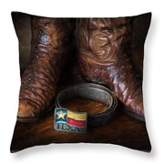 Texas Boots And Belt Buckle Throw Pillow