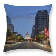 Texas Capitol And The Paramount From Congress Throw Pillow