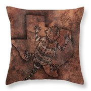 Texas Horned Toad Throw Pillow