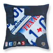 Texas License Plate Map Throw Pillow