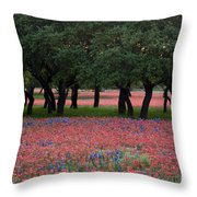 Texas Live Oaks Surrounded By A Field Of Indian Paintbrush And Bluebonnets Throw Pillow