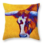 Texas Longhorn Cow Study Throw Pillow