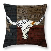 Texas Longhorn Recycled Vintage License Plate Art On Lone Star State Flag Wood Background Throw Pillow