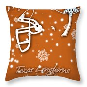 Texas Longhorns Christmas Card Throw Pillow