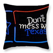 Texas Neon Sign Throw Pillow