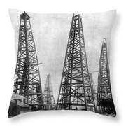 Texas: Oil Derricks, C1901 Throw Pillow