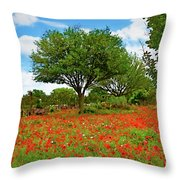 Texas Poppy Field 159 Throw Pillow