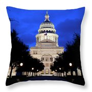 Texas State Capitol Floodlit At Night, Austin, Texas - Stock Image Throw Pillow