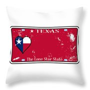 Texas State License Plate With Damage Throw Pillow