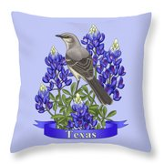 Texas State Mockingbird And Bluebonnet Flower Throw Pillow by Crista Forest
