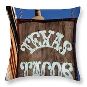 Texas Tacos Throw Pillow by Charles Dobbs