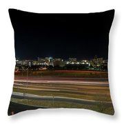 Texas University Tower And Downtown Austin Skyline From Ih35 Throw Pillow